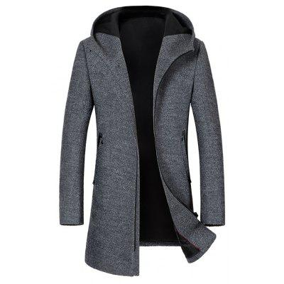 Zipper Up Hooded Wool Blend Coat