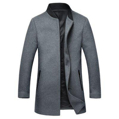 Stand Collar Zip Up Wool Blend Coat