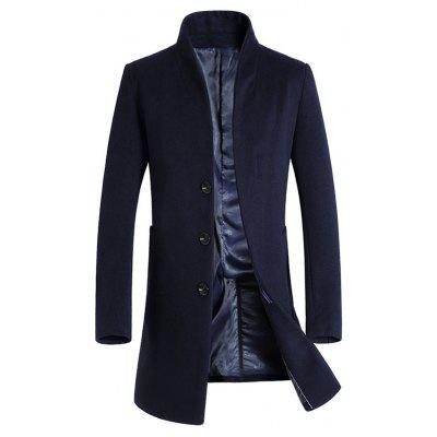 Shawl Collar Covered Button Wool Blend Coat