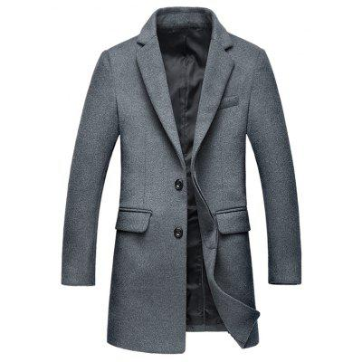 Covered Button Flap Pocket Lapel Coat