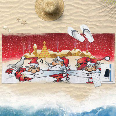 Buy RED Christmas Snowscape Santa Claus Print Bath Towel for $19.36 in GearBest store