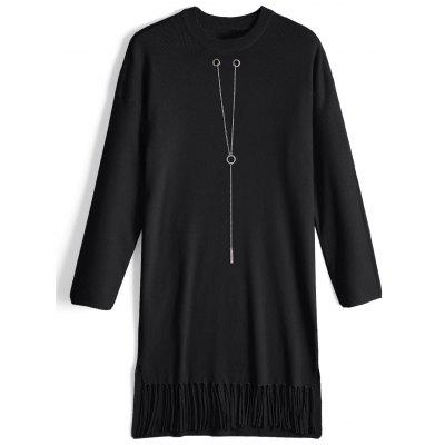 Fringed Chain Long Sleeve Sweater Dress