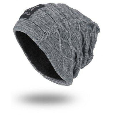 Thicken Double-Deck Knit Hat with Letters Label