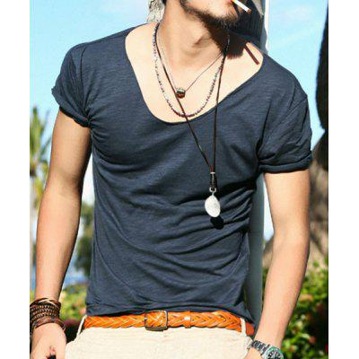 Hot Sale V-Neck Solid Color Short Sleeves Slim Fit T-Shirt For Men
