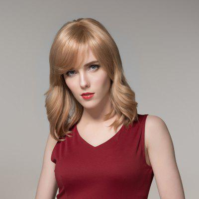 Graceful Medium Side Bang Fluffy Natural Wavy Real Natural Hair Wig For Women
