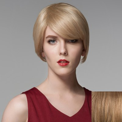 Elegant Short Side Bang Siv Hair Fashion Straight Side Bang Human Hair Wig For Women