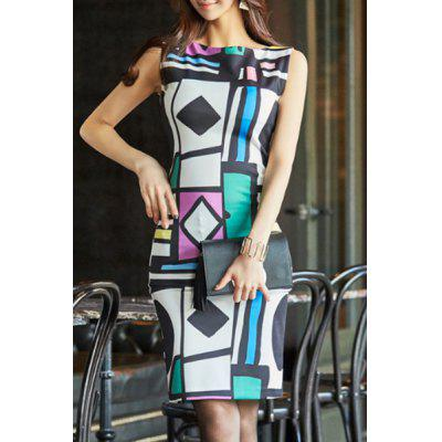 Stylish Boat Neck Sleeveless Geometric Print Bodycon Women's Dress