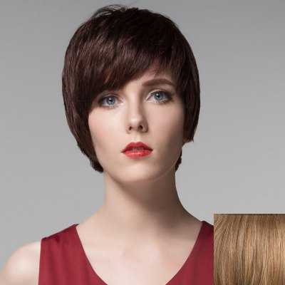 Spiffy Short Siv Hair Vogue Straight Side Bang Multicolor Human Hair Wig For Women