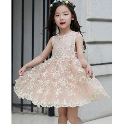 Buy Sweet Round Neck Sleeveess Lace Spliced Girl's A-Line Dress, PINK, 130, Baby & Kids, Girls' Clothing for $18.79 in GearBest store