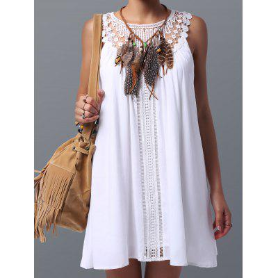 Lace Panel Spring Casual Tunic Dress