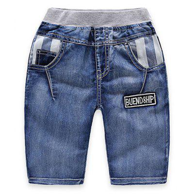 Stylish Elastic Waist Striped Patch Spliced Boy's Knee-Length Denim Shorts