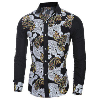 Casual Turn Down Collar National Style Printing Shirt For Men