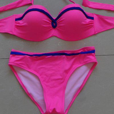 Stylish Halter Splice Push-Up Women's Bikini Set