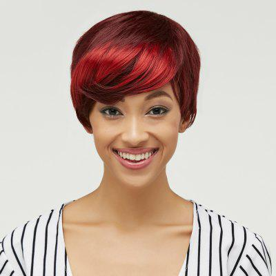 Trendy Side Bang Red Mixed Brown Fluffy Straight Short Synthetic Wig For Women