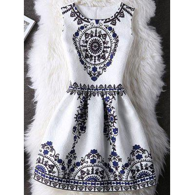 Tribal Pattern Zipper Design A Line Dress