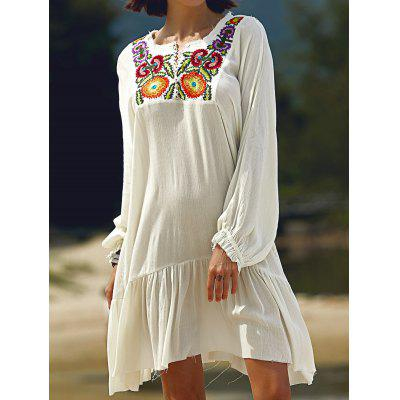 Fashion Long Sleeve Round Neck Embroidery Dress For Women