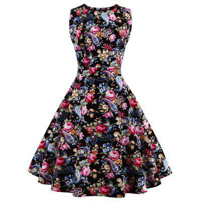 Tie Back Floral 50s Swing Dress