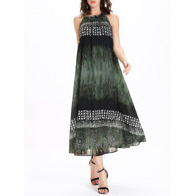 Frilled Jewel Neck Printed Tie Belt Dress