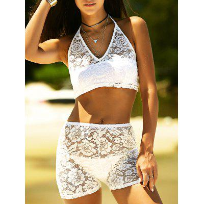 Halter See Through High Waisted Lace Tankini