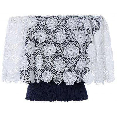 Fashionable Off The Shoulder Crochet Lace Crop Top For Women