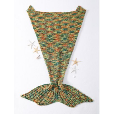 High Quality Mixed Color Knitted Mermaid Tail Design Blankets