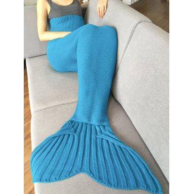 Buy LIGHT BLUE Stylish Solid Color Knitted Mermaid Tail Design Blankets For Adult for $25.78 in GearBest store