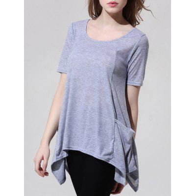 Fashionable Scoop Neck Asymmetric T-Shirt For Women