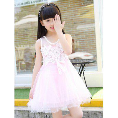 Cute Scoop Neck Sleeveless Lace Spliced Girl's Ball Gown Dress