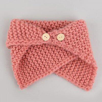 Casual Buttons Flanging Knitted Scarf