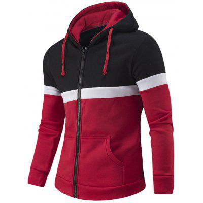 Zipper-Up Color Block Hoodie