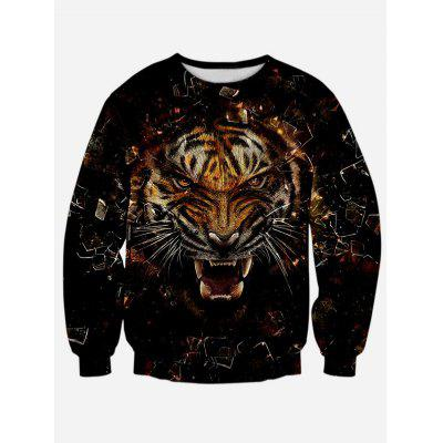 Round Neck Long Sleeve 3D Tiger Print Sweatshirt