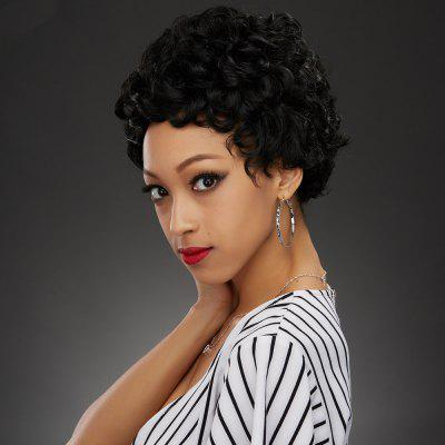 Fashion Short Black Fluffy Curly Synthetic Wig