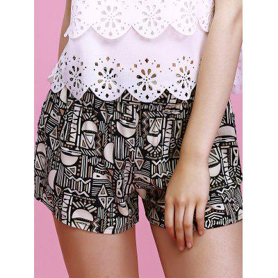 Charming Elastic Waist Geometric Print Slimming Women's Shorts