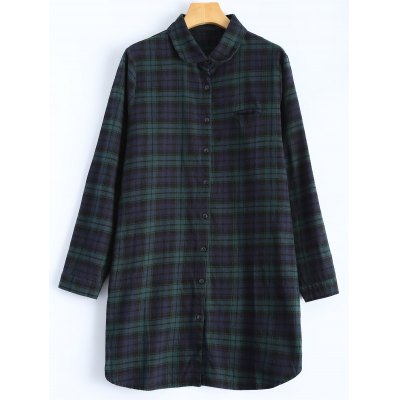 Tartan Boyfriend Shirt With Front Pocket
