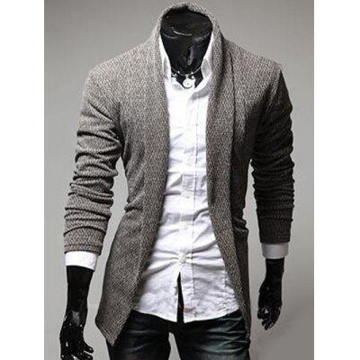 Buy COFFEE XL Turndown Collar Slimming Knitting Cardigan for $16.40 in GearBest store
