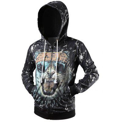 Side Pocket Animal 3D Print Zip Up Hoodie