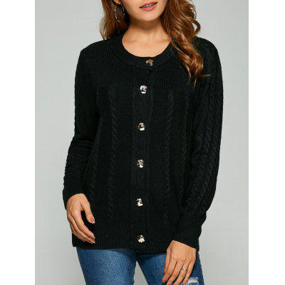 Buy BLACK Cable Knit Cardigan With Buttons for $20.98 in GearBest store