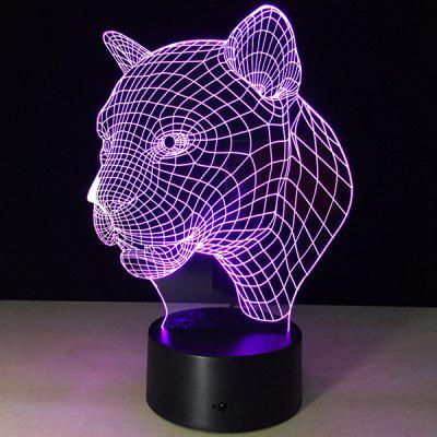 3D Christmas Leopard Head Shape Touch Colorful Night Light