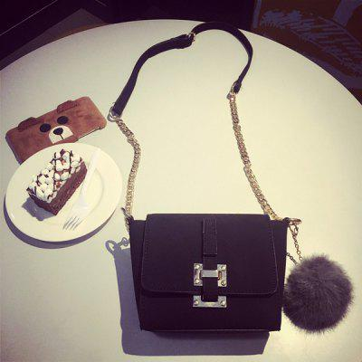Chain Pompon Metal Crossbody Bag