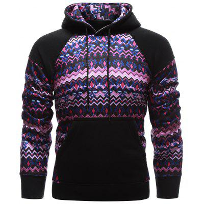 Tribal Print Kangaroo Pocket Raglan Sleeve Spliced Hoodie
