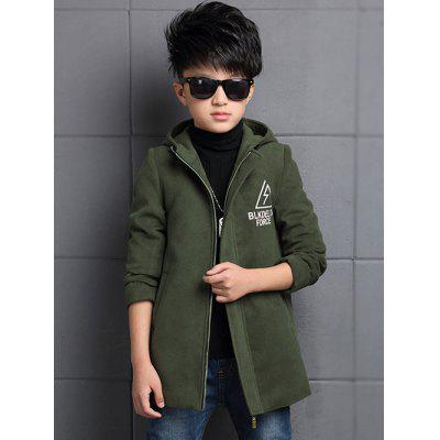 Boys Hooded Triangle Print Slim Wool Coat