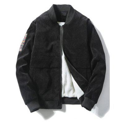 Zip Up Graphic Flocking Corduroy Jacket