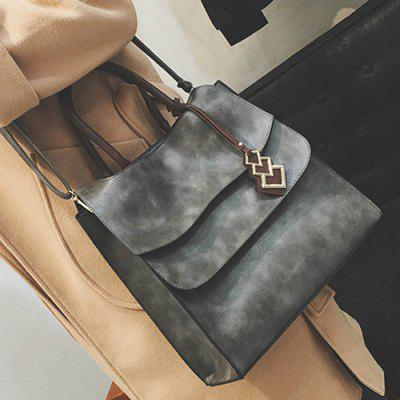 Metal PU Leather Snaps Tote Bag