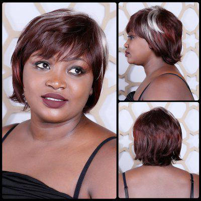 Short Multi Color Neat Bang Straight Synthetic Wig