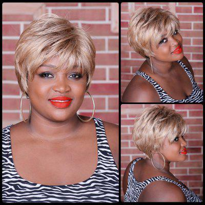 Short Multi Color Fluffy Neat Bang Straight Synthetic Wig