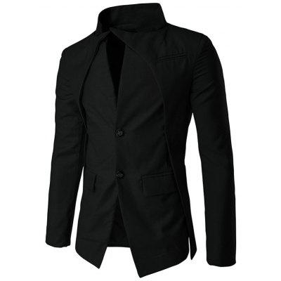 Pocket Stand Collar Layered Two Button Blazer