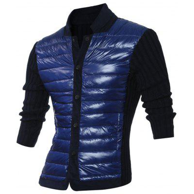 Ribbed Insert Snap Button Up Jacket