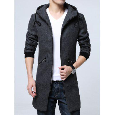 Pocket Zippered Hooded Longline Wool Blend Coat