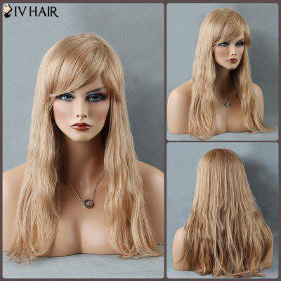 Siv Long Fluffy Natural Straight Inclined Bang Human Hair Wig