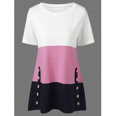 Button Decorated T-Shirt